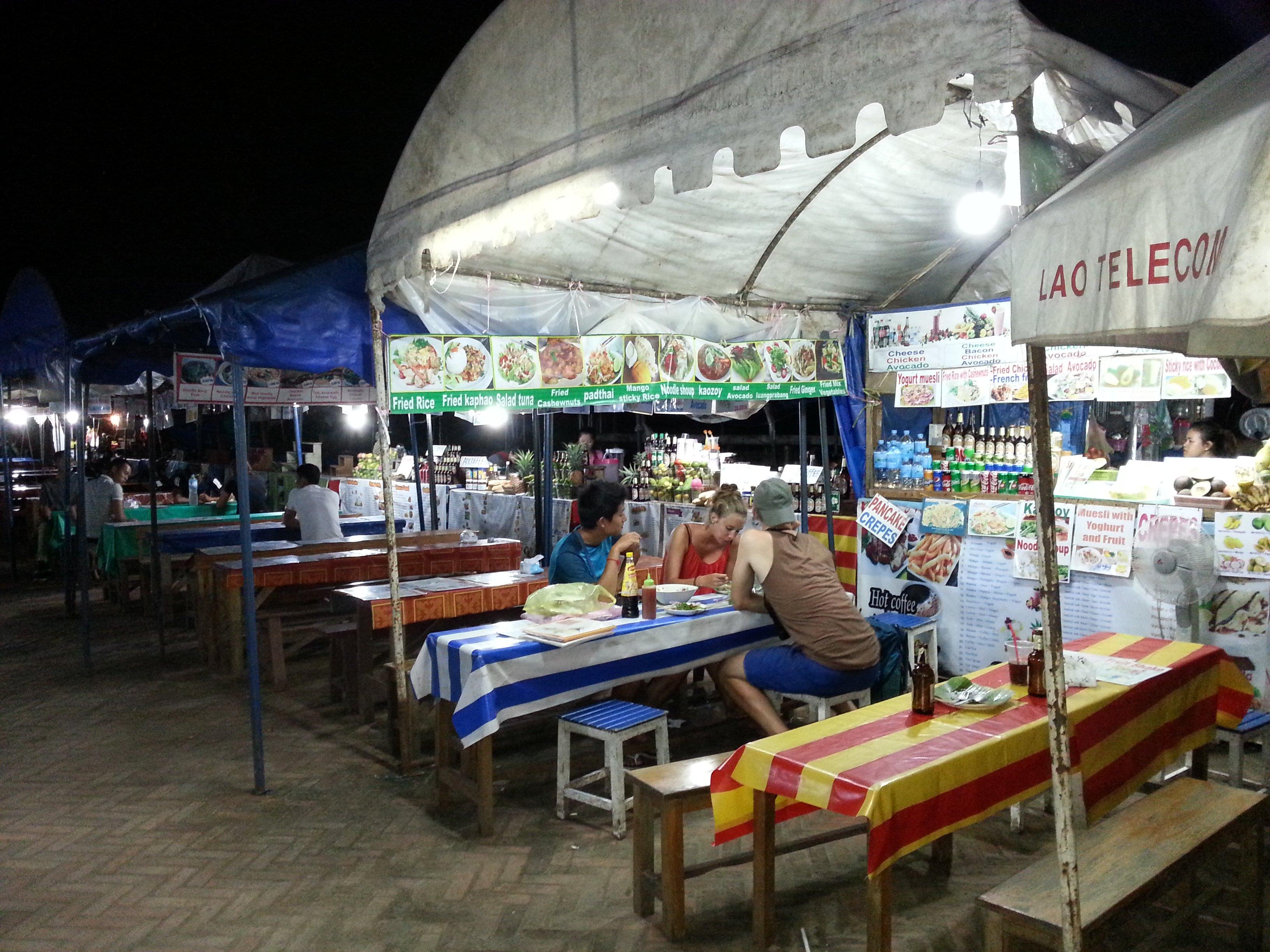 Food stalls at Luang Prabang Night Market