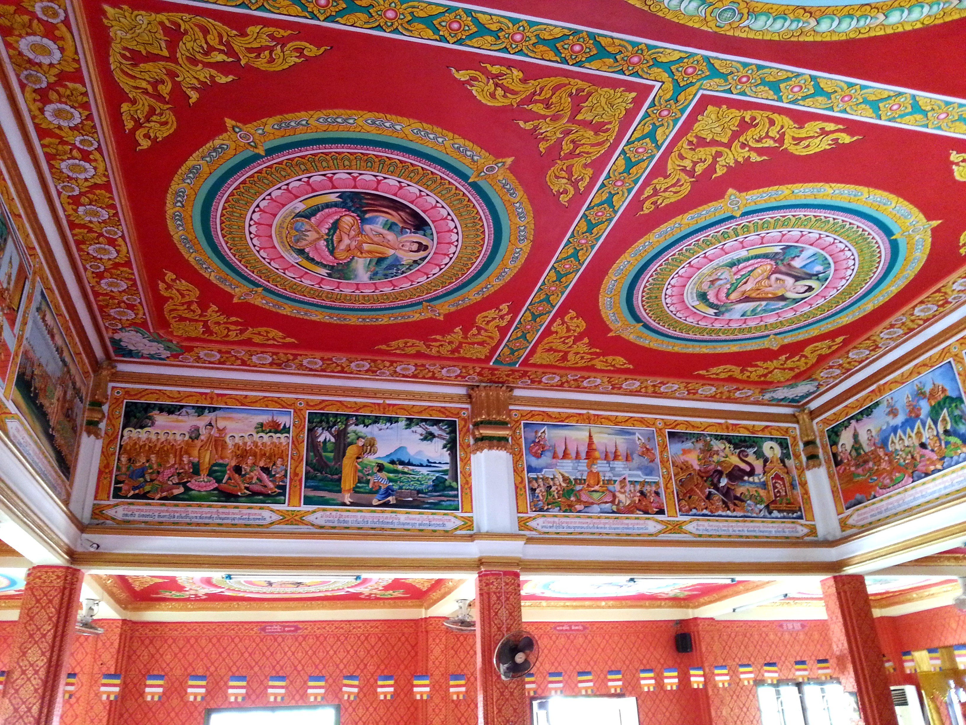 Ceiling mural at Wat Chanthaboury