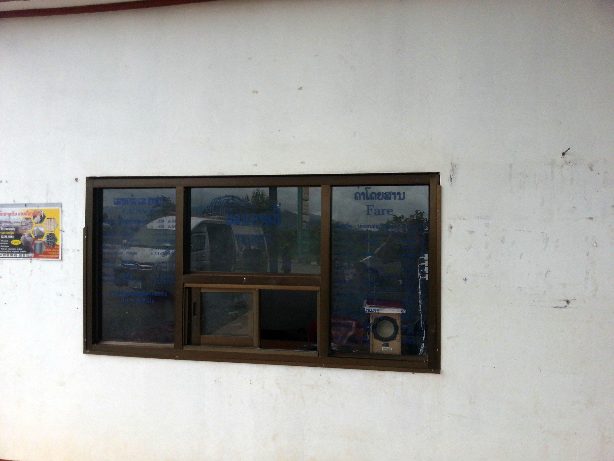 Ticket window at Muang Ngeun Bus Station