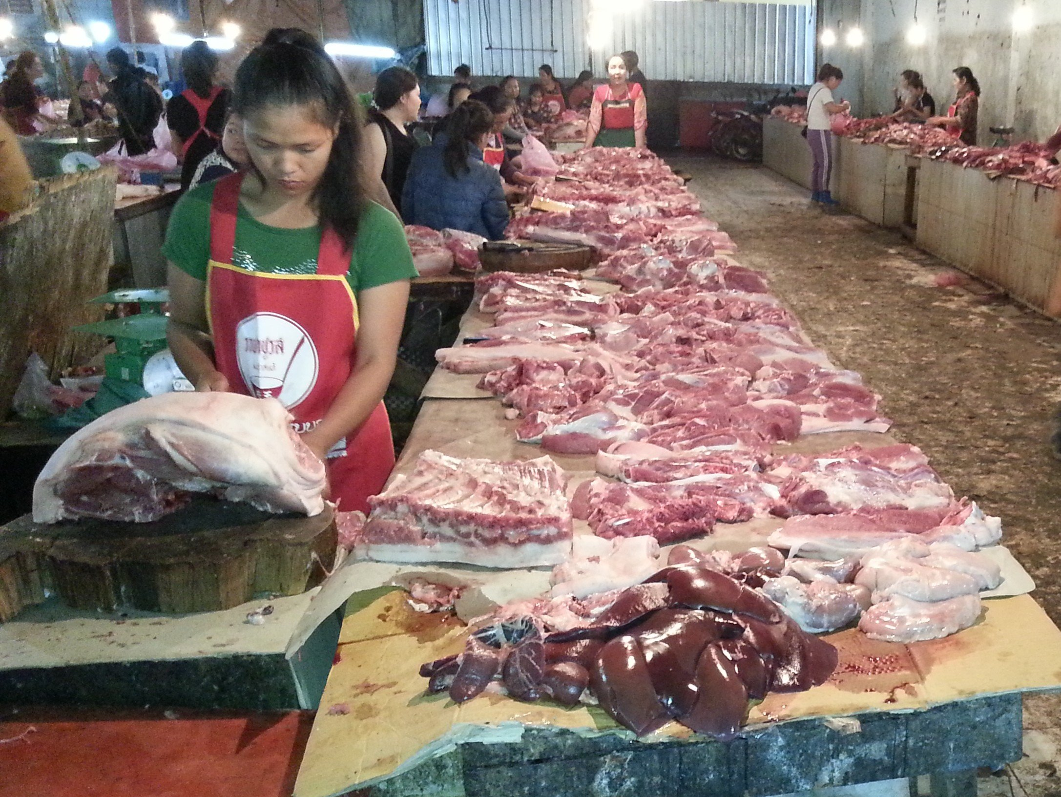 Meat section to Phoukam Garden Agriculture Wet Market