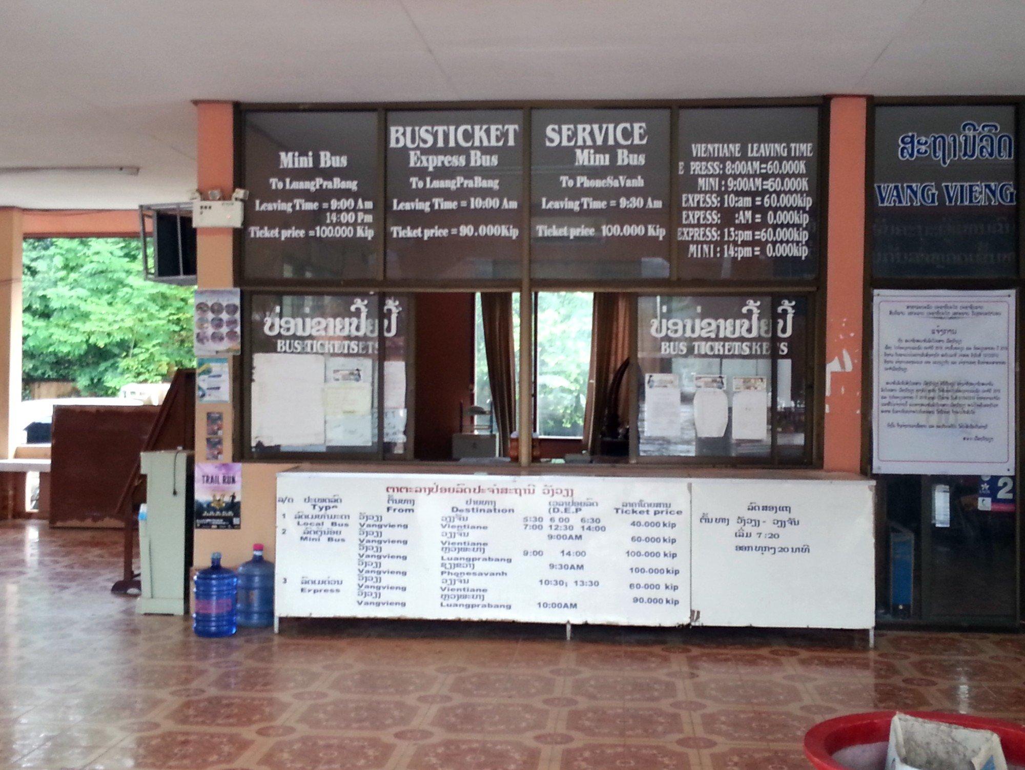 Ticket office at Vang Vieng North Bus Terminal