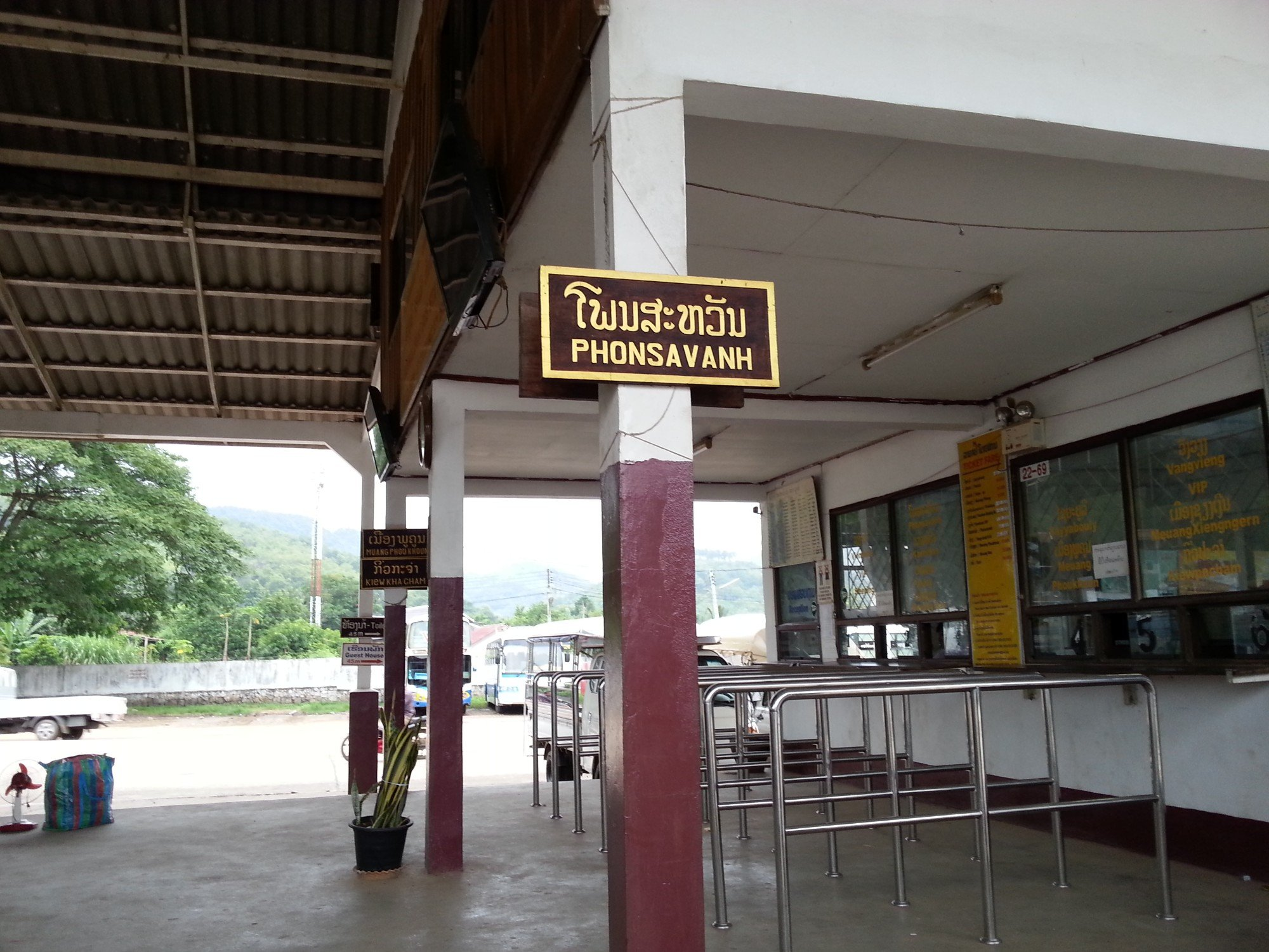 Bus stop in Luang Prabang